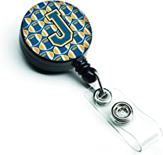 Caroline's Treasures CJ1077-JBR Letter J Football Blue & Gold Retractable Badge Reel, Multicolor