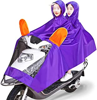 HYBAUDP Raincoat Poncho Set Waterproof ElectricCar Rainwear Adult Widened Double Poncho,Hooded Raincoat Rain Cape Coat for Mobility Scooters Motorcycle Rain Suit (Color : Purple)
