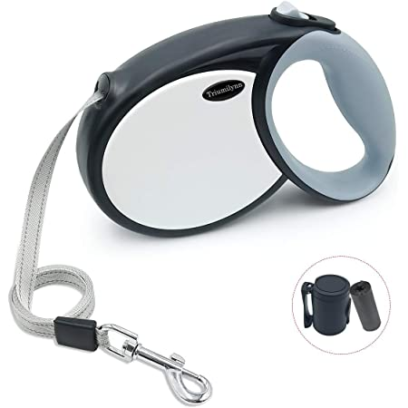 Triumilynn Retractable Dog Leash, 23ft Long Dog Walking Leash for Small to Medium Breed up to 70lbs with Dog Waste Dispenser and Bags, Tangle Free, Strong Nylon Tape, One Brake & Lock Button