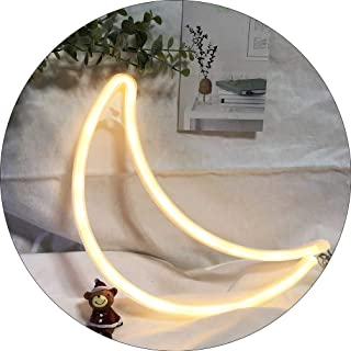 Hopolon Moon Neon Signs, LED Neon Light for Party Supplies, Girls Room Decoration Accessory, Table Decoration, Children Kids Gifts (Warm White Moon)
