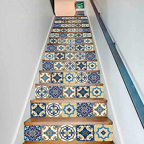 Pegatina PVC Autoadhesivo 3D 13 piezas de etiqueta engomada de la escalera, etiqueta engomada de la pared, decoración de la sala de estar, pegatina de azulejo de imitación Etiqueta engomada extr