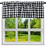 2 Pack Buffalo Check Plaid Cotton Window Valances White and Black Farmhouse Design Window Treatment Lined Decor Curtains Rod Pocket Valances for Kitchen/Living Room 16' x 56'