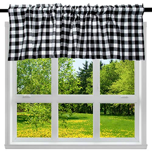 "2 Pack Buffalo Check Plaid Window Valances White and Black Farmhouse Design Window Treatment Decor Curtains Rod Pocket Valances for Kitchen/Living Room 16"" x 56"""