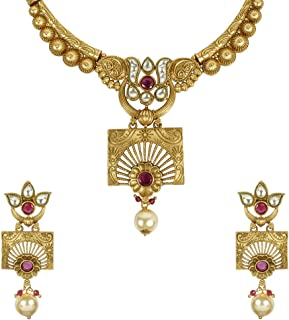 Indian Bollywood Style Traditional Polki New Gold Tone Necklace/Pendant Jewelry for Women