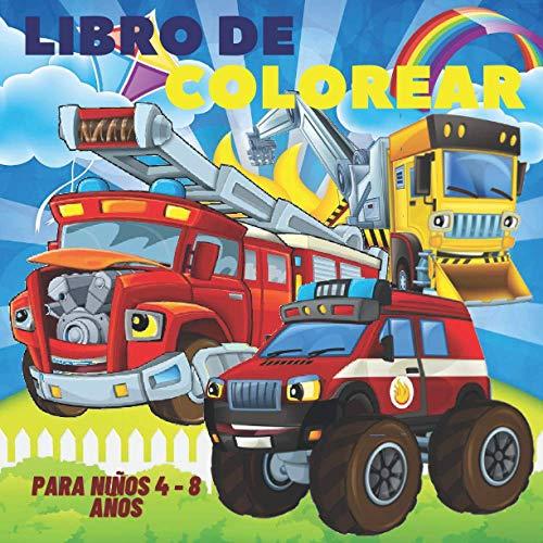 Libro de Colorear para Niños 4 - 8 años: Camión, avión, automóvil, excavadora, tractor, excavadora, camión de bomberos: Libro para colorear de coches ... - Colorear vehículos - libro de colorear