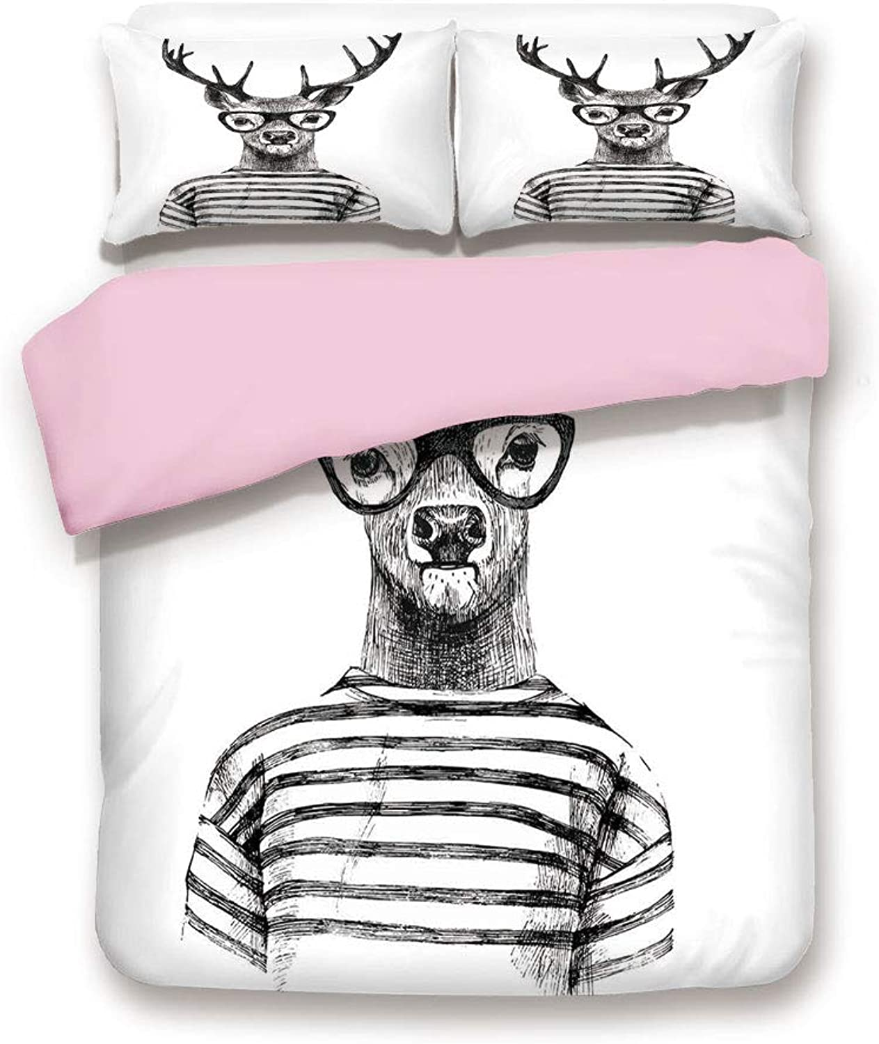 Pink Duvet Cover Set,FULL Size,Dressed up Reindeer Headed Human Hipster Style with Glasses Stripped Shirt,Decorative 3 Piece Bedding Set with 2 Pillow Sham,Best Gift For Girls Women,Charcoal Grey Whit