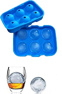 Ice Cube Trays, Silicone Sphere Whiskey Ice Ball Maker with Lids & Large Square Ice Cube Molds for Cocktails & Bourbon - Reusable & BPA Free (6 Cube)