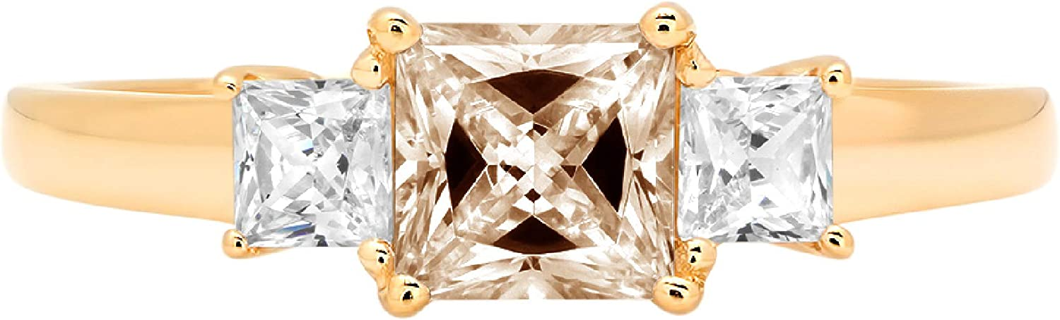 0.89ct Princess cut 3 stone Solitaire with Accent Brown Champagne Ideal VVS1 Simulated Diamond CZ Engagement Promise Statement Anniversary Bridal Wedding Ring Solid 14k Yellow Gold