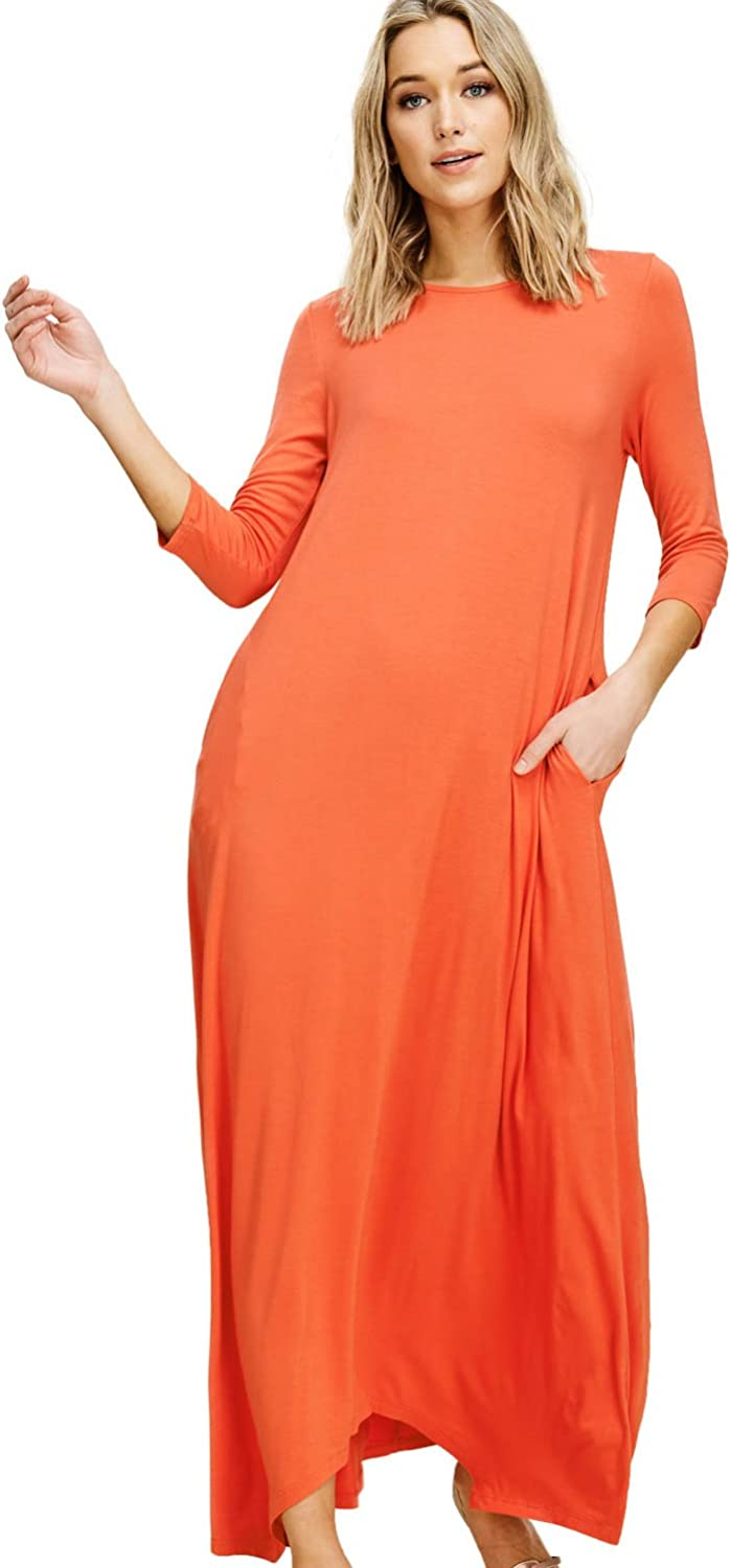 Annabelle Women's 3 4 Sleeve Casual Loose Fit Maxi Dresses with Side Pockets