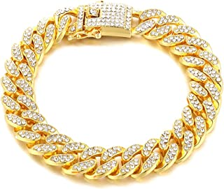 Fusamk Hip Hop 18K Gold Plated 13MM Wide Cuban Chain Iced Out Crystal Link Bracelet,8.0inches