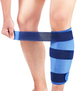 Calf Brace, Adjustable Shin Splint Support Compression Wrap with Anti-Slip Lining and Elastic Strap for Men and Women, Effectively Relief Pulled Calf Muscle Pain Strain Injury, Sprain and Swelling