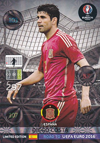 Panini Adrenalyn XL Road To UEFA Euro 2016–Diego Costa Limited Edition Carte