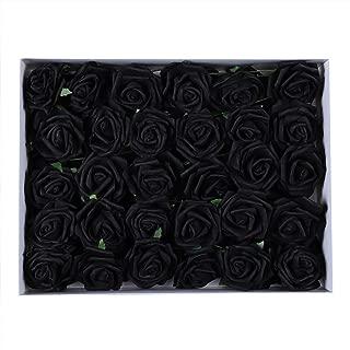 Duovlo Artificial Rose Flower 60 PCS Foam Roses Marry Bridesmaid Bouquets DIY Wedding Centerpieces Party Baby Shower Center Arrangements Decorations (Black)