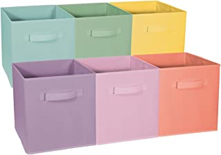 Sorbus Foldable Storage Cube Basket Bin - Great for Nursery, Playroom, Closet, Home Organization ( Pastel Multi-Color, 6 Pack)