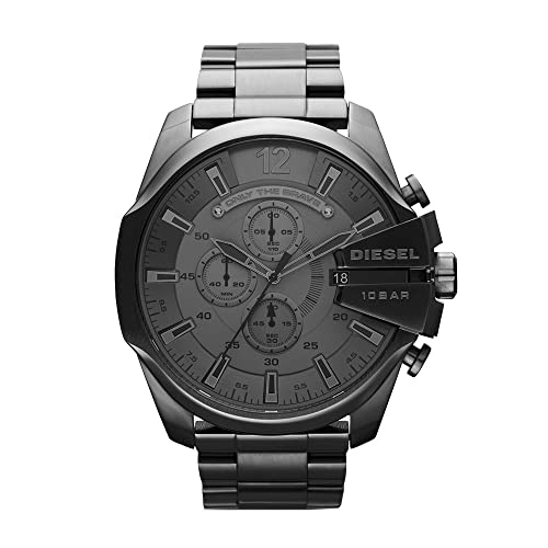 Diesel Mens Mega Chief Quartz Stainless Steel Chronograph Watch, Color: Grey (Model: