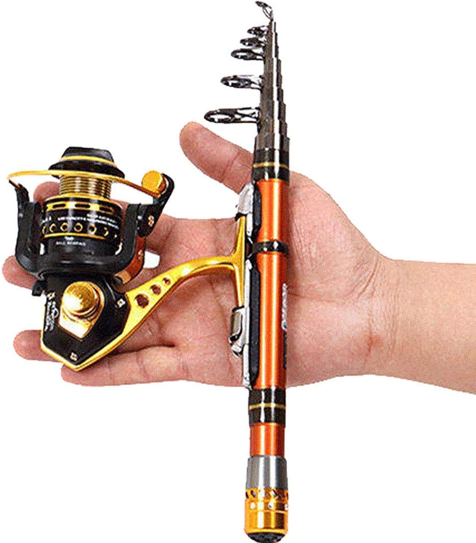 WYYHAA Mini Teleskop Tragbare Angelrute, Kohlefaser Teleskop Angelrute Pocket Pen Sea Rod Anzug Ultra Short Section Throwing Pole für die Reise Salzwasser Süwasserfischen