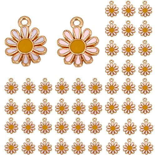 Yuemuop 50 Piezas Accesorios para Colgantes de Margaritas, Colgante Flor Margarita, Colgante de Margarita de Aleación 12 mm x 15 mm para Collar Pulsera Pendientes Blanco Rosa