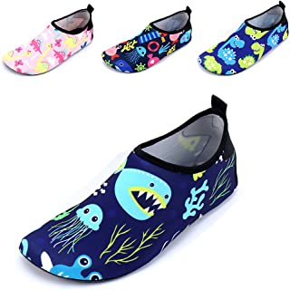 JACKSHIBO Kids Water Shoes, Lightweight Skin Swim Shoes Quick Dry Barefoot Aqua Socks Shoes for Beach Surf Yoga Exercise
