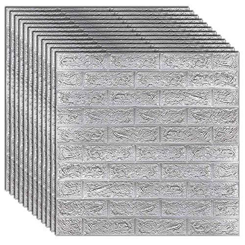 plhzh 10pcs Brick Foam Panels,3D Wall Stickers Self-Adhesive,Embossed Stone Wallpaper Home Decor-Gray