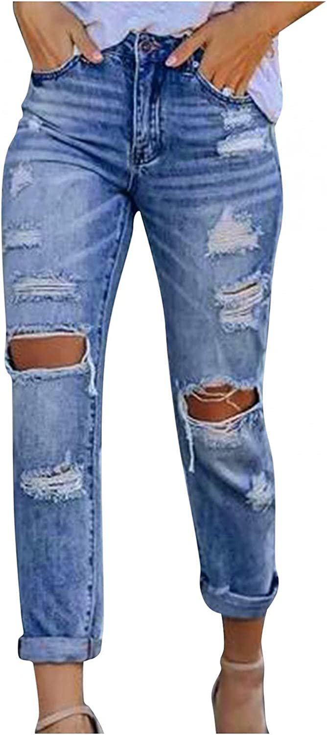 Aiouios High Waisted Jeans for Women Y2K Fashion Distressed Baggy Ripped Jeans Stretch Wide Leg Denim Pants Trousers