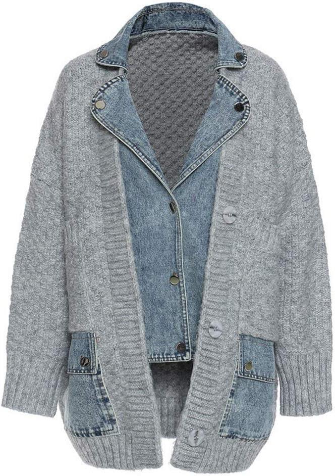 YCZDG Loose Fit Knitting Denim Stitch Big Size Jacket New Lapel Long Sleeve Women Coat Fashion Tide Autumn Winter (Size : S Code)