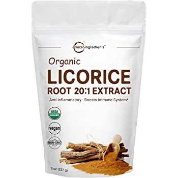 Organic Licorice Root Extract 20:1 Powder, 8 Ounce, Pure Licorice Supplement, Positively Helps Soothe Cough, Sore Throat, Clear and Comfortable Breathing, No GMOs and Vegan Friendly