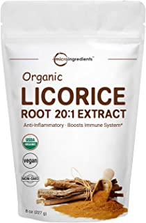 Organic Licorice Root Extract 20:1 Powder, 8 Ounce, Positively Helps Soothe Cough, Sore Throat, Clear and Comfortable Breathing, No GMOs and Vegan Friendly