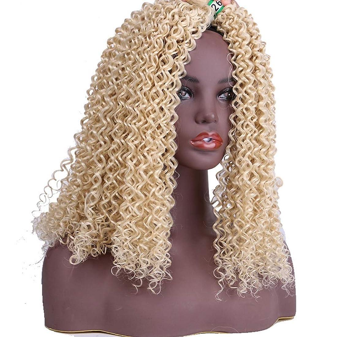 降伏圧倒的最高Yrattary 女性の金髪の小さな変態カーリーヘアエクステンション織り3バンドル100g /バンドル自然に見える合成髪レースかつらロールプレイングかつら長くて短い女性自然 (色 : Blonde, サイズ : 18inch)