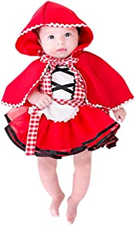 Little Red Riding Hood Costume, 2Pcs Baby Girls Maid Costume Plaid Tutu Lace Dress Hooded Cloak Outfits