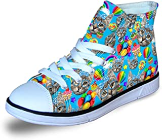 Fashion Cute Colorful Cat Owl Print High Top Casual Little Kids Canvas Skate Shoes Sneakers