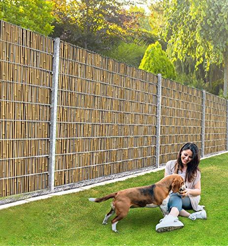MyMaxxi Infinity Zaunsichtschutz |Bambus braun Motiv| Sichtschutzstreifen für Doppelstabmattenzaun | Windschutz Sonnenschutz Blickdicht | Polyester Gewebe Garten | Folie Balkon Sichtschutz