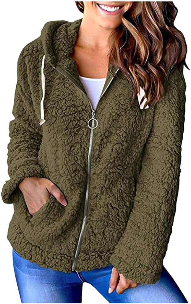 WUAI-Women Fuzzy Import Fleece Hoodie Jackets Zip Warm Up Max 79% OFF Winter Casual