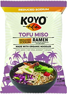 Koyo Ramen Soup, Tofu Miso Reduced Sodium, Made With Organic Noodles, No MSG, No Preservatives, Vegan, 2.1 Ounces Per Package (12 Pack)