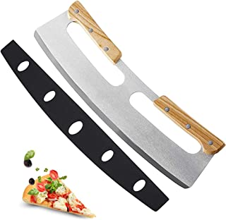 Coupe Pizza Professionnel Inox, minghaoyuan Coupe Pizza Avec Manche En Bois pour Couper la Pizza, Les Légumes, Les Herbes ...