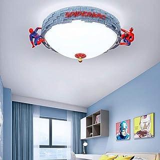Lámpara de techo de Spiderman Lámpara de la habitación para niños creativa Lámpara de acrílico blanco Pantalla de ojos Protección ambiental Dormitorio Luz de techo Diseño 3D 55 cm (56W)