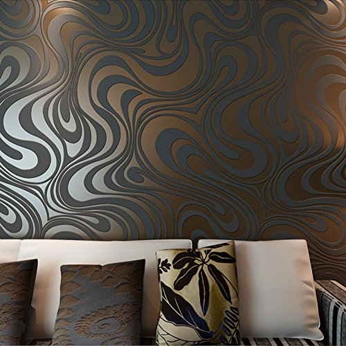 Hanmero papel pintado pared,no tejido,3D diseno, para la contexto de la TV, sofa, dormitorios, negro marron,0.7M*8.4M