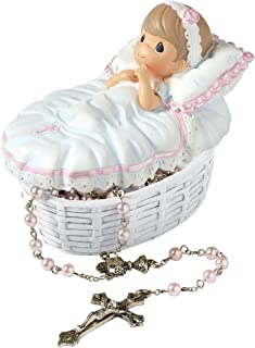 Precious Moments, Baptized In His Name Resin Box With Rosary, For Girl, 153406