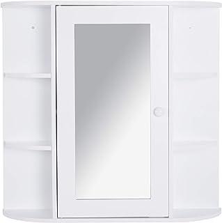 HOMCOM Armoire Murale Salle de Bain Armoire à Glace Placard de Rangement Toilettes 1 Porte + étagères latérales MDF Blanc