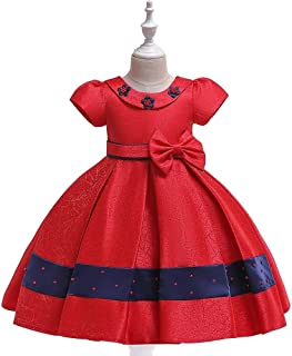 SEASHORE Girls Butterfly Wedding Party Knot Princess Dress Satin Flower Girl Wedding Performance Piano Costume 4-12 Years Old E01 (Color : Red, Size : 6-7T)