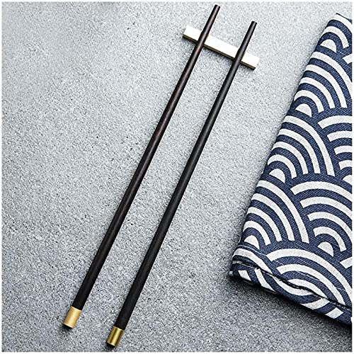 Palillos reutilizables japonés de madera ébano palillos lavavajillas caja fuerte vajilla palillos regalo, palillos de madera natural negro y oro, un par de 5 sets-a