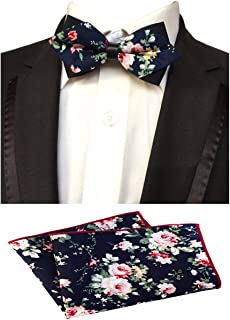 MOHSLEE Men Floral Flowers Cotton Bowtie Wedding Party Bow Tie Pocket Square Set
