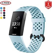 FunBand for Fitbit Charge 3 Strap Bands, Easy Adjust Breathable with Ventilation Holes Soft Silicone Sport Accessory Bracelet Straps for Fitbit Charge 3 Fitness Activity Wristband