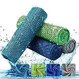 4 Pezzi Asciugamano Raffreddamento - Asciugamani Microfibra Ghiaccio Istantaneo - Asciugamano Palestra Sportivo ad Asciugatura Rapida per Yoga, Golf, Lo Sport, Viaggi, Campeggio, Palestra, Piscina