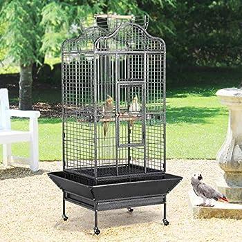 Yaheetech Cage Oiseaux Grande Volière 81 x 77 x 154 cm avec roulettes Toit ouvrable Perroquet Cacatoès Ara Amazone Conure Gris du Gabon
