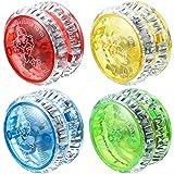 Sumind 4 Pieces LED Light Yo-Yo Plastic Responsive Yoyo Entertaining Yoyo for Beginner Party Favors (Random Colors)