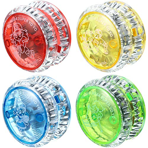 Sumind 4 Pieces LED Light Yo-Yo Plastic Responsive Yoyo Entertaining Yoyo for Beginner Party Favors...