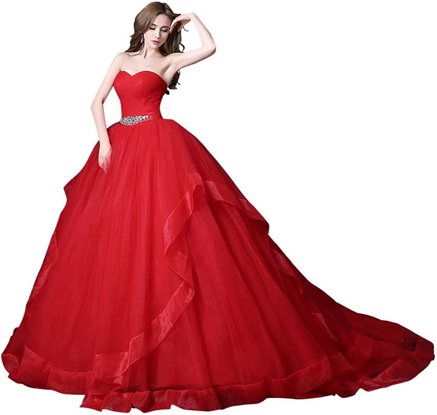 BeautyEmily Sweetheart Tulle Two Layers Wedding Dresses with Belt