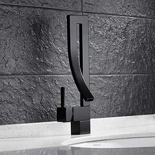 Grifo Moderno Baño único Tallas de baño Cascada Fregadero Baño Mezclador de Lavabo Tap Palanca de una Sola Palanca de latón Monobloc Diseño Creativo Grifo Negro