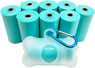 POQOD Dog Poop Bags - Leak-Proof Dog Waste Bags, Clean up Pet Poo Bag Refills 9 Rolls /135 Count, (Greenish-Blue, Purple) Includes Free Bone Dispenser and D-Ring Carabiners Clip