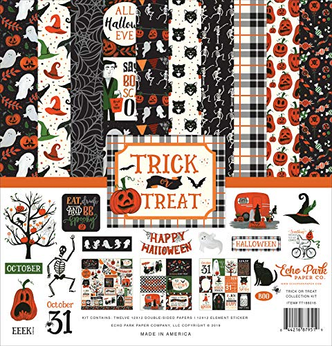 Echo Park Paper Company TT186016 Trick Or Treat Collection Kit Papier, Oranje, Zwart, Groen, Grijs
